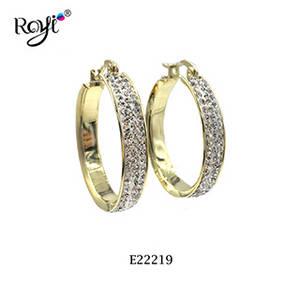 Wholesale gold earrings: New Design Gold Finish Brass Huggie Crystal Hoop Earrings