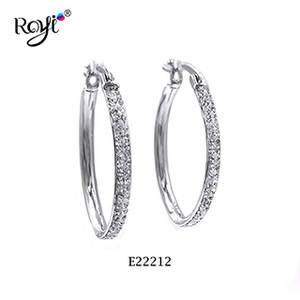 Wholesale Earrings: Rhodium Plating Crystal Hoop Earring
