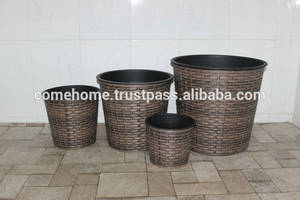 Wholesale water hyacinth furniture: Hot New Product for 2015: Round Rattan Plastic Planter for Home Decoration and Home Furniture