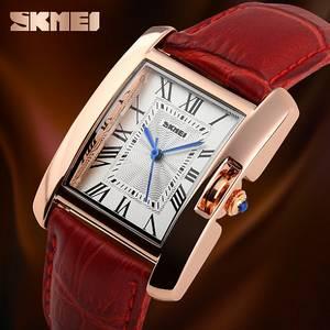 Wholesale wrist watch: Leather Band Wrist Watch for Women Roman Numeral Square Case Quartz Watch