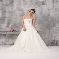 Sell 355tuo A-Line Floor Length Strapless Princess Train Wedding Ball Gown