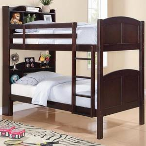 Wholesale bunk bed: Parker Twin Bookcase Bunk Bed with Built-In Ladder