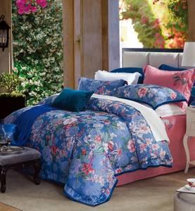 Wholesale bed sheet set: 2017 New Design Jacquard and Reactive Printed Cotton Bedding Sets 200 300 TC Sateen Cotton Sheet Set