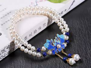 Wholesale fresh water pearl: NEFFLY 925 Sterling Silver  5mm Fresh Water Pearl Lapis Lazul Peony Pattern Beaded Strands Bracelet
