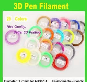 Wholesale printing material: 20 Bag Carton 3D Printer Pen Filament PLA 1.75mm 3D Printing Pen Material 10m Per Bag