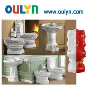 Wholesale toilet bidet: Popular in Middle East Country Sanitary Ware Suits, Ceramic Toilet Basin Bidet