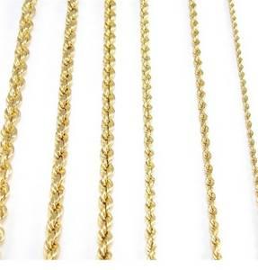 Wholesale gold bracelets: 24 Kt To 10 Kt Men Solid Yellow Rope Gold Chains Necklaces Bracelets