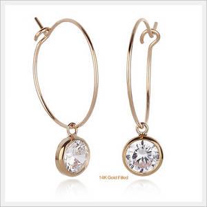 Wholesale gold set: 14K Gold Filled Bezel Setting Hoop Earrings (8408-01-EA)