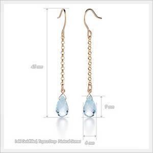 Wholesale gold earrings: Prettica 14K Gold Filled Blue Topaz Natural Stone Drop Earrings