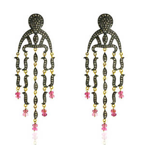 Wholesale 14k bangles: 18k Gold Designer Diamond Pave Chandelier Earring Jewelry