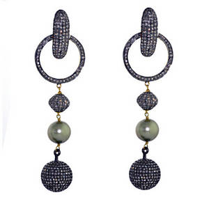 Wholesale diamond earrings: 14k Gold Pave Diamond Designer Drop Pearl Earring Jewelry