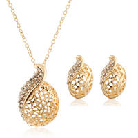 Sell Round hollow fashion rhinestone necklace earrings jewelry sets