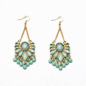 Wholesale Earrings: Diamond Chain Tassel Resin Diamond Drop Earrings