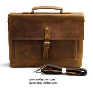 Wholesale document: Factory Custom Leather Briefcase Bag Vintage Document Portfolio Good Quality Laptop Briefcase
