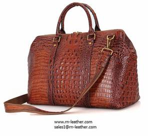 Wholesale travel bag: High End Brown Croc Print Real Leather Duffle Bag for Weekend Travelling