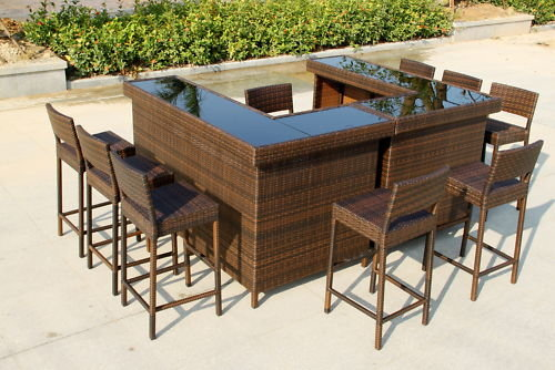 Outdoor Garden Living Poly Rattan Wicker Bar Table Id