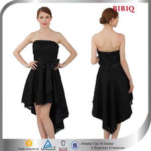 Wholesale prom dresses: Bridesmaid High-low Wedding Dress Black Short Front Long Back Prom Ladies Night Sexy Dresses