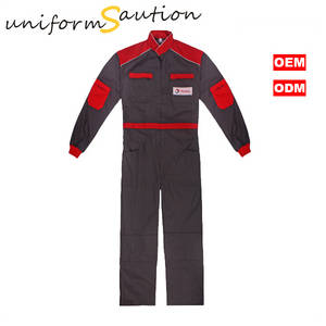 Wholesale Uniforms & Workwear: Custom Gray and Read Cotton Coverall Uniforms