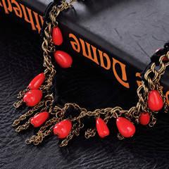 Wholesale rhinestone: Hot Selling Red Flower Rhinestone Women Necklace