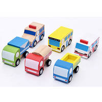 Wooden 6 Piece Mini Pull-back Vehicle Toy Set Inc Bus, Truck, Container Truck, Tank Lorry, Express