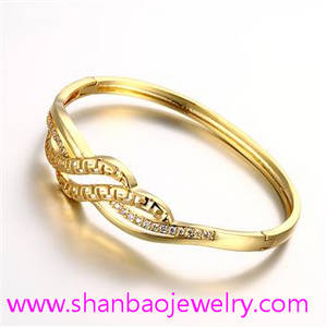Wholesale gold bangles: Gold Plated Costume Fashion Zircon Jewelry Girls Women Ladies Woman Party Bangles