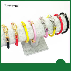 Wholesale gold bangles: Eowsrzm Metal Round Charm Matt Gold Lobster Claw Clasp Special Silicone Bracelet