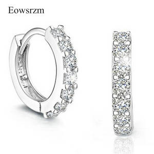 Wholesale diamond earrings: Eowsrzm Platinum Plated Hot New Woman Silver Crystal White Gold Plated Hoop Earrings CZ Diamond Hoop
