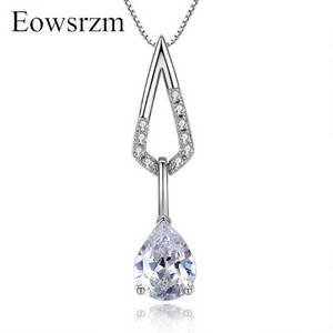Wholesale jewellery: Eowsrzm White Gold Plated Alloy Jewellery Female Pendant Necklaces