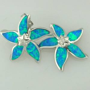 Wholesale diamond earrings: 925 Sterling Silver Earrings with Synthetic Opals & Diamond Cz