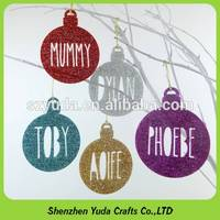 Sell laser cut shapes gift hanging glitter acrylic Christmas tree decorations