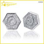 Wholesale diamond earrings: Wholesale Solid Silver Lab Created Diamond Earrings
