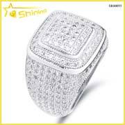 Wholesale 14k bracelets: Rhodium Plated Sterling Silver 925 Hip Hop Ring