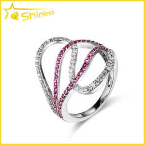 Wholesale 14k bangles: Women Sterling Silver Multi Color Micro Pave Ring
