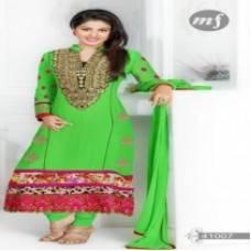 Wholesale online shopping india: F3 Fashion Green Straight Cut Pakistani Style Suit
