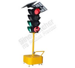 Wholesale solar light: 300mm 4 Aspects 4 Units Portable Solar Powered Traffic Light