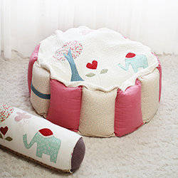 Wholesale handmade cotton cushion covers: SOABE Fabric Ball Pool(Cotton, Pink and Beige)