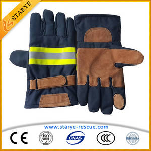 Wholesale leather glove: EN659 Cow Leather Aramid Fire Gloves Fire Fighting Gloves