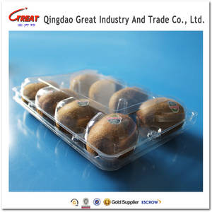 Wholesale plastic box/package: Transparent Clamshell Plastic KIWI Packaging Box/Container with 8 Holes