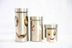 Wholesale Other Kitchen Storage & Organization: 3pcs Kitchen Storage Canisters, Window and Stainless Steel Shell