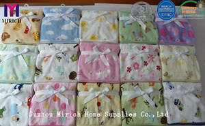 Wholesale knitted throw: Lovely Plain Soft Knitted Flannel Fleece Printed Baby Receiving Throw/Blankets