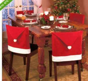 Wholesale chair cover: Soft Comfort Santa Hat Dining Chair Covers SAD-0001