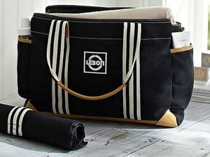 Wholesale Diaper/Nappy Bags: LEBON Black Classic Pure Cotton Twill Mom Diaper Bags with PU Trim