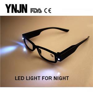 Wholesale led: Free Sample YNJN Cheap Plastic Frame Mens LED Reading Glasses