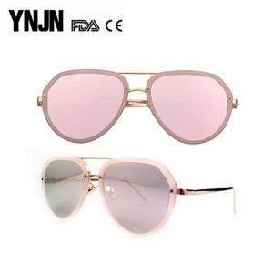 Wholesale sunglass: YNJN New Trendy Fashion Ladies Mirror Lenses Rose Gold Sunglasses