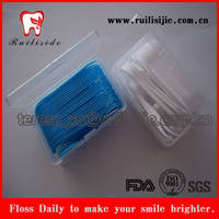 50pcs plastic box packed dental floss picks,dental floss toothpicks with private label printing