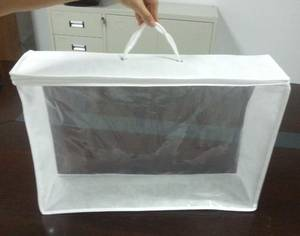 Wholesale non woven bag: Clear PE and PP Non Woven Bed Clothes Bag
