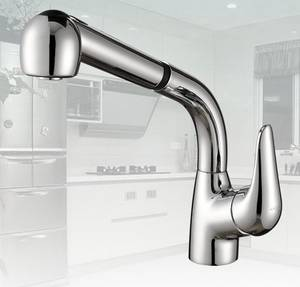 Wholesale kitchen mixer: Kitchen Faucet Pull Out Vanity Sink Lavatory Mixers Brass Pullout Faucets Chrome Banyo BADKAMER Musl