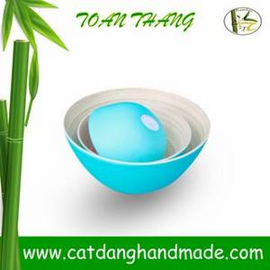 Wholesale art: Bamboo Bowl with Various Colors, 100% Handmade in Vietnam
