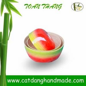 Wholesale rattan furniture: High Quality 3PCS Bamboo Mixing Bowl Sets