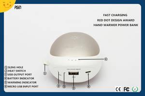 Wholesale red dot: Red Dot Design Award Hand Warmer Pisen Power Bank 7500mAh CB CE FCC RoHS Certificate